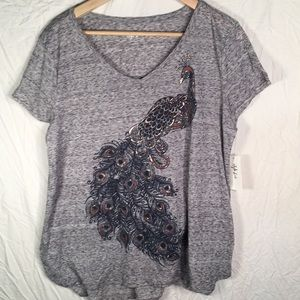 Style & Co Peacock Design Tee Shirt NWT Size Large